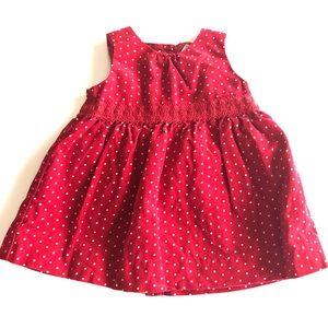Oshkosh Dress 9M Corduroy Christmas Polka dots